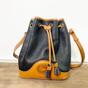 Dooney & Bourke Vintage Bucket Bag Navy and Brown